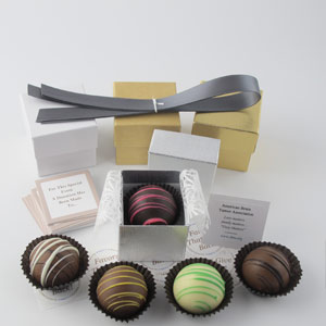 DIY Dessert Favors with pewter ribbons, silver & gold linen boxes, assorted dessert truffles and charity cards - corporate party favors
