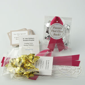 DIY Mini Favors with scarlet ribbons, gold & silver mini truffles and charity cards - corporate party favors
