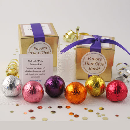 DIY gold assorted foil favors with 4 truffles - Corpporate Party Favors