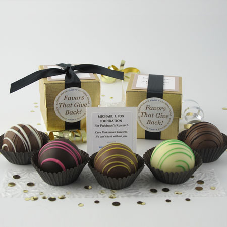 gold favor with 1 dessert truffle - Corporate Party Favors