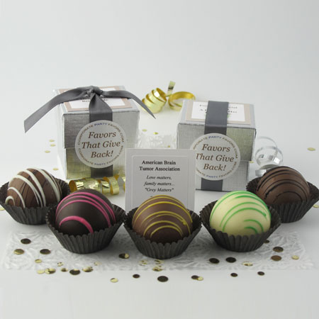 silver favor with 1 dessert truffle - Corporate Party Favors